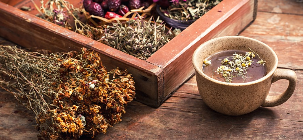 Herbal tea in cup and dried herbs on wooden table