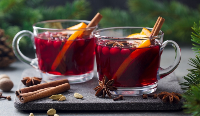 Rose Hip Herbal Tea with Star Anise, Cinnamon Stick, and Lemon